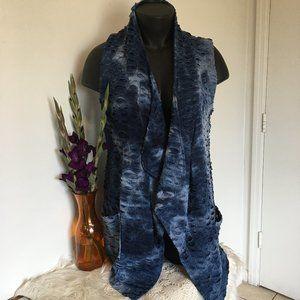 Kaktus Long Open Blue Denim Look Vest Jacket